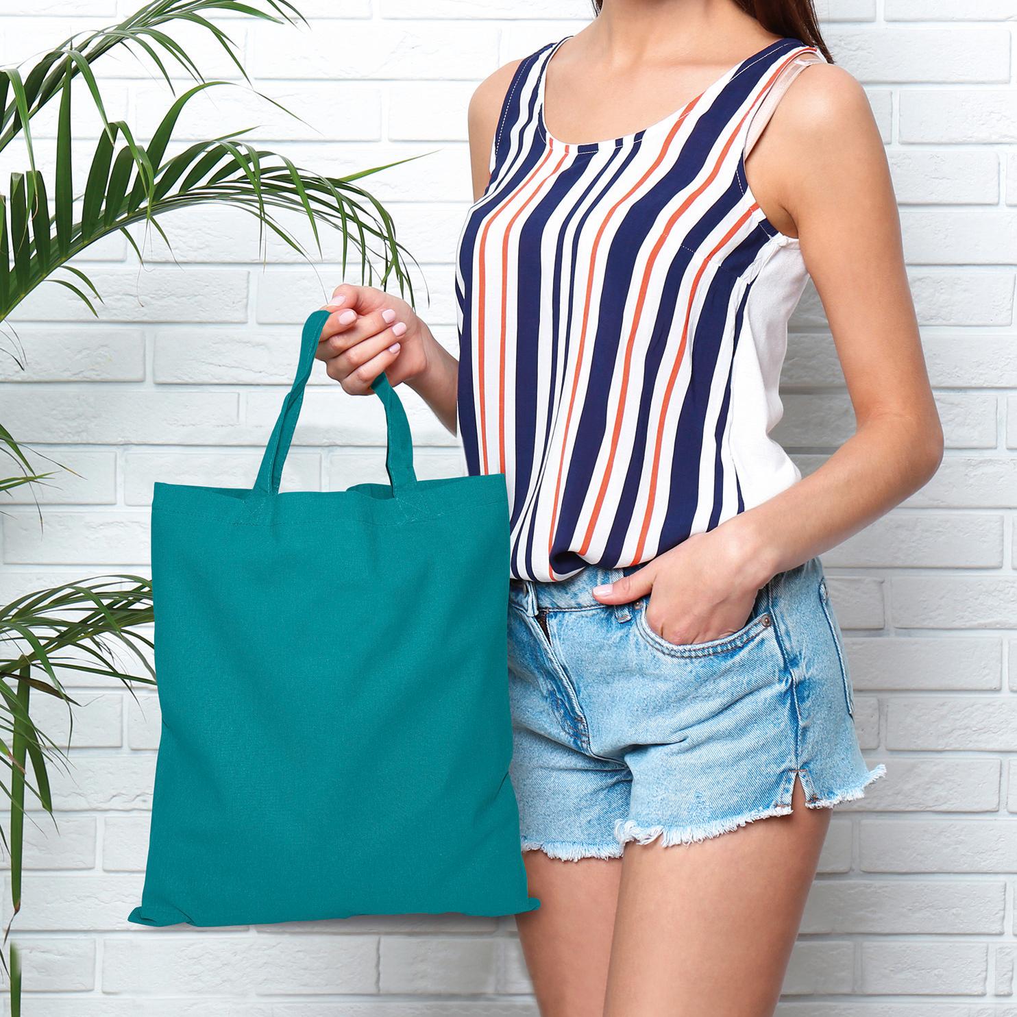 20 Kapstadt Baumwolltasche mit kurzen Henkeln, Farbe: petrol, Anwendungsbeispiel